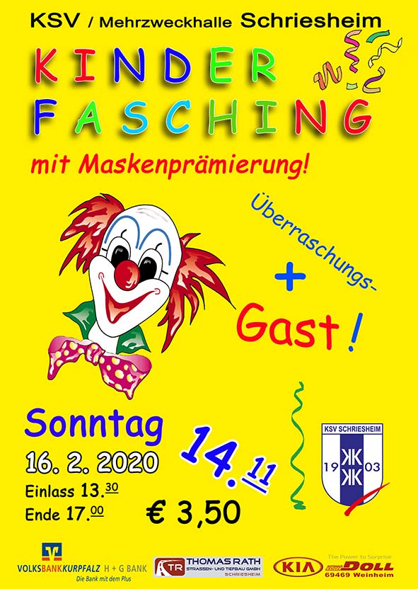 Kinderfasching am 16.02.2020